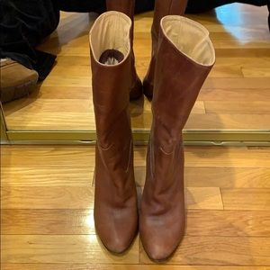 Coach brown heeled boots